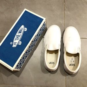 Vans Leather Slip-on Sneakers, Size 9.5